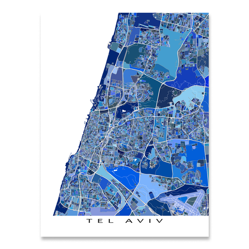 Tel Aviv, Israel map art print in blue shapes designed by Maps As Art.