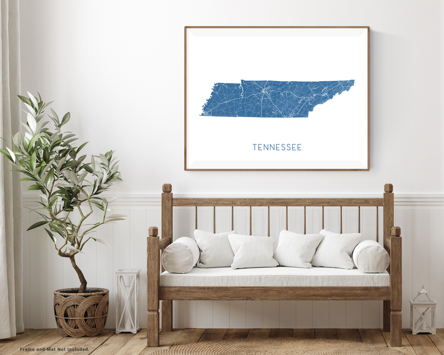Tennessee state map print with wooden bench home decor by Maps As Art.