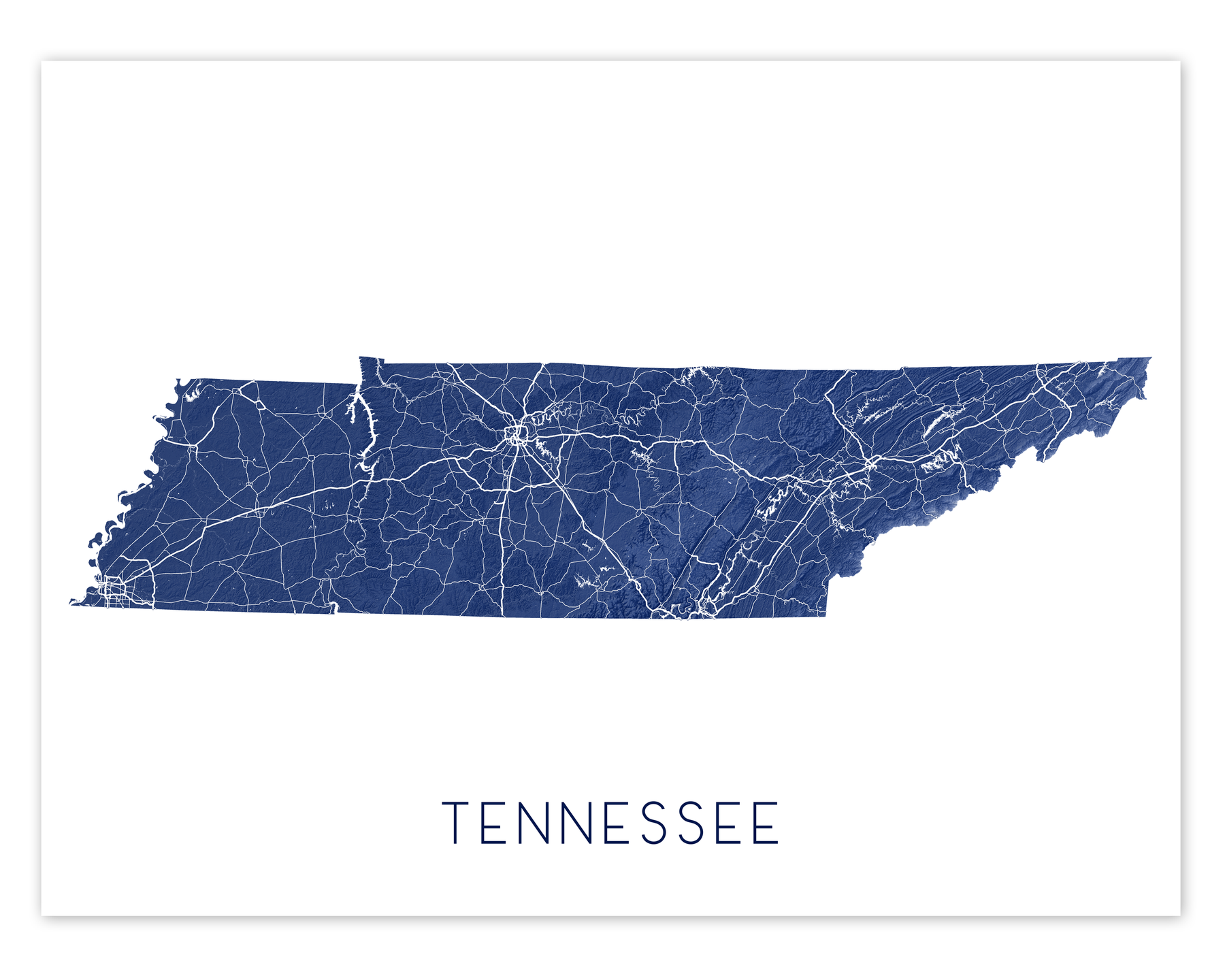 Tennessee state map print in Midnight by Maps As Art.