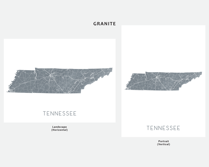 Tennessee state map print in Granite by Maps As Art.