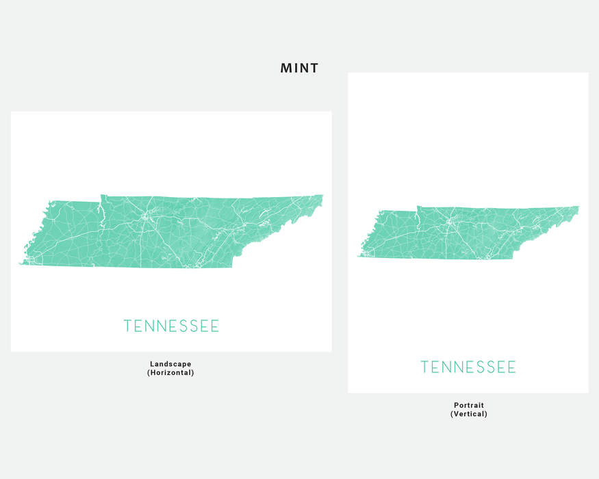 Tennessee state map print in Mint by Maps As Art.