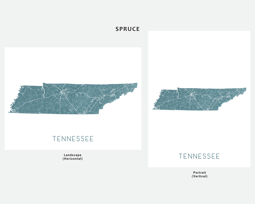 Tennessee state map print in Spruce by Maps As Art.