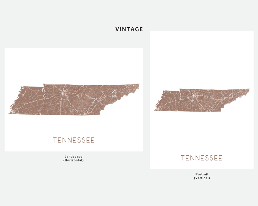 Tennessee state map print in Vintage by Maps As Art.