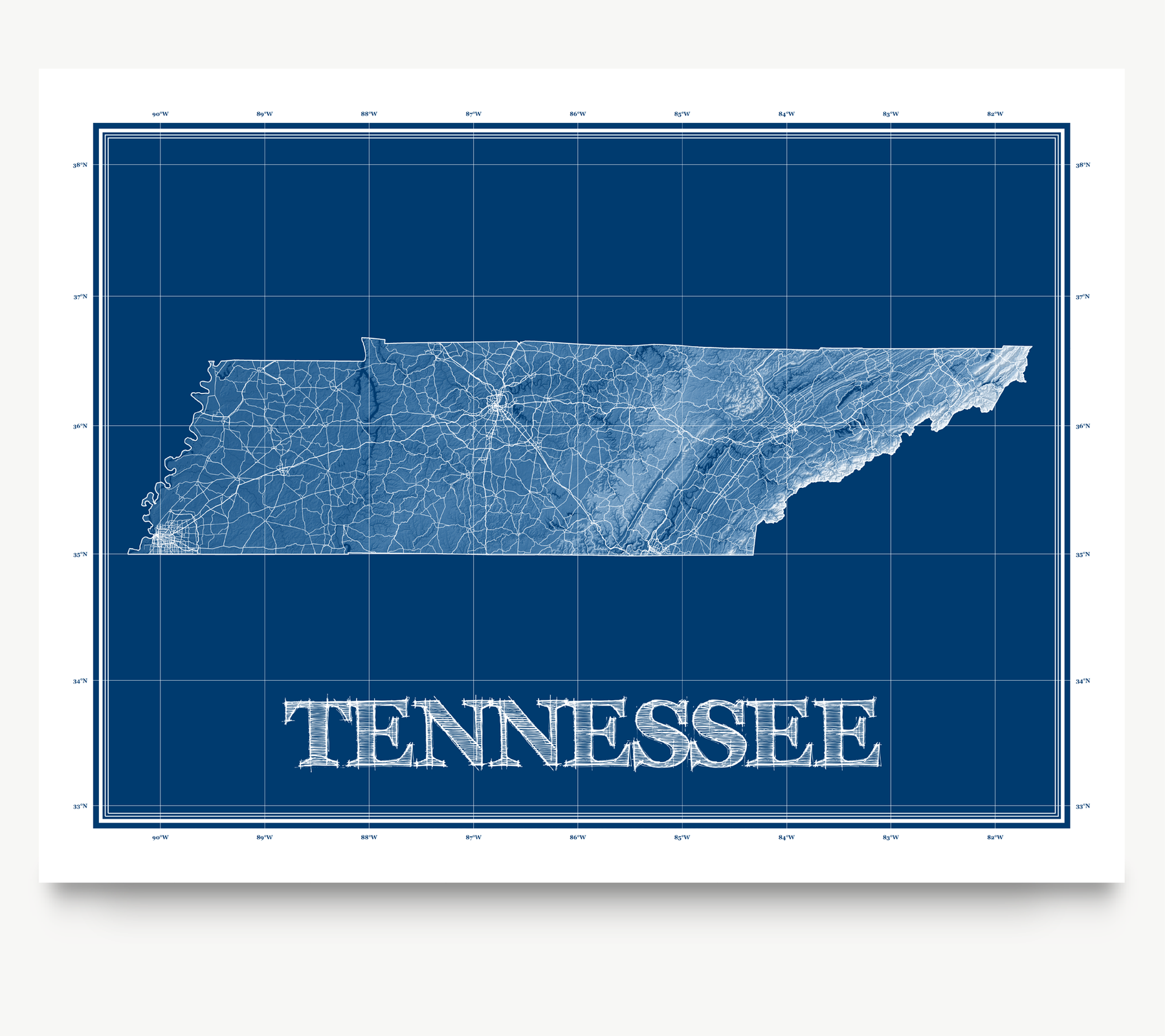 Tennessee state blueprint map art print designed by Maps As Art.