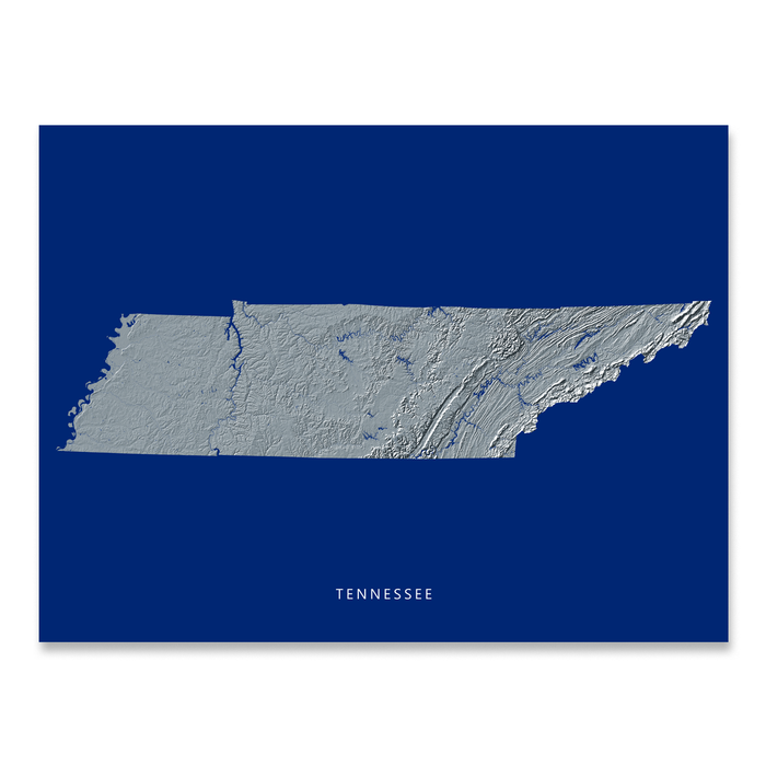 Tennessee Map Print, Navy Landscape