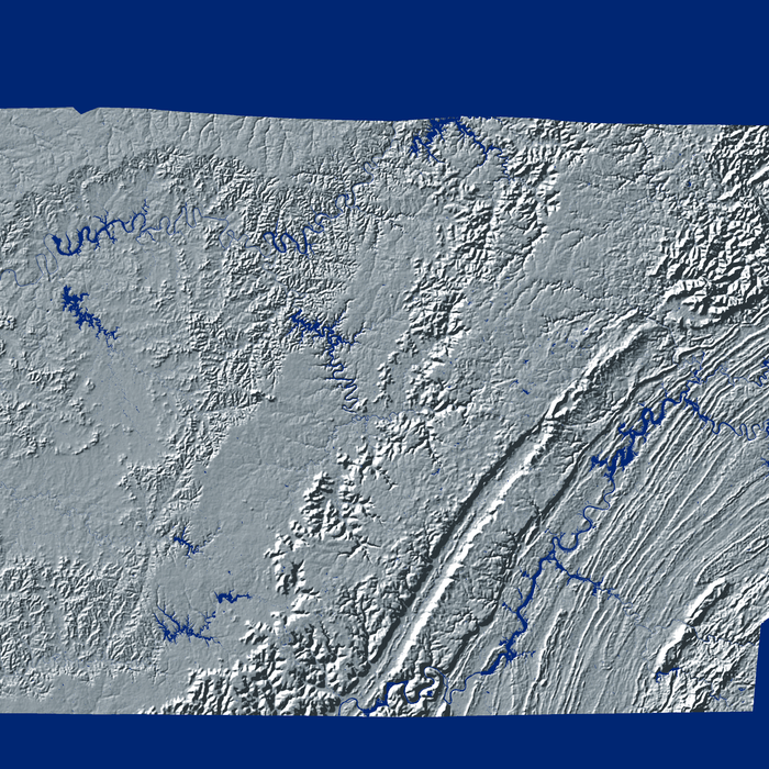 Tennessee state map print with natural landscape in greyscale and a navy blue background designed by Maps As Art.