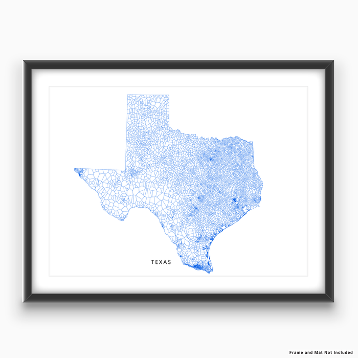 Texas state map art print in a geometric, minimalist style designed by Maps As Art.