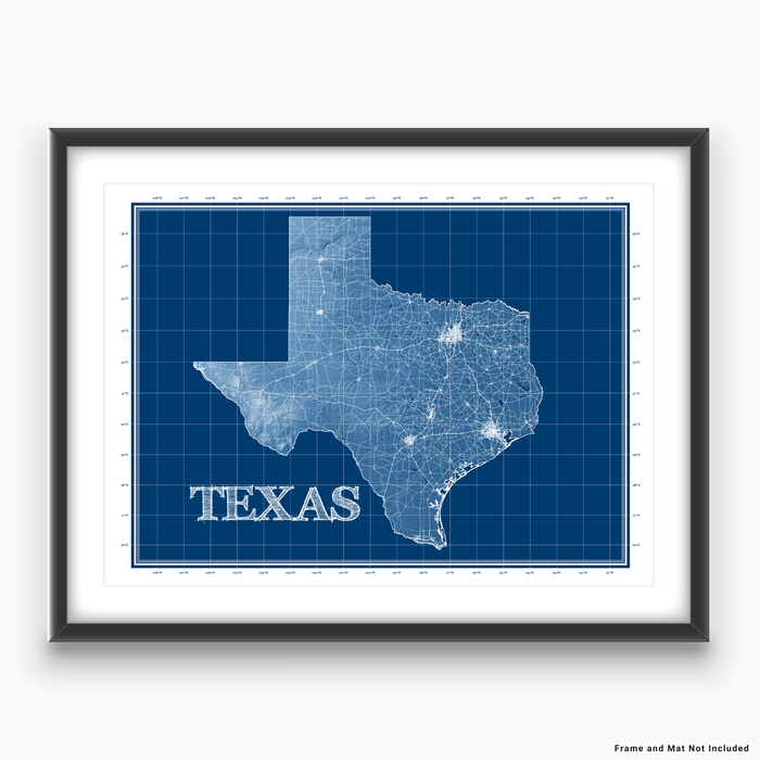Texas state blueprint map art print designed by Maps As Art.
