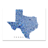 Texas Map Print, TX State