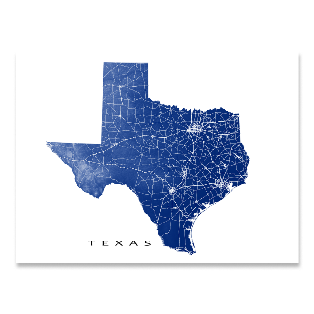 Texas Map Print, USA State, TX