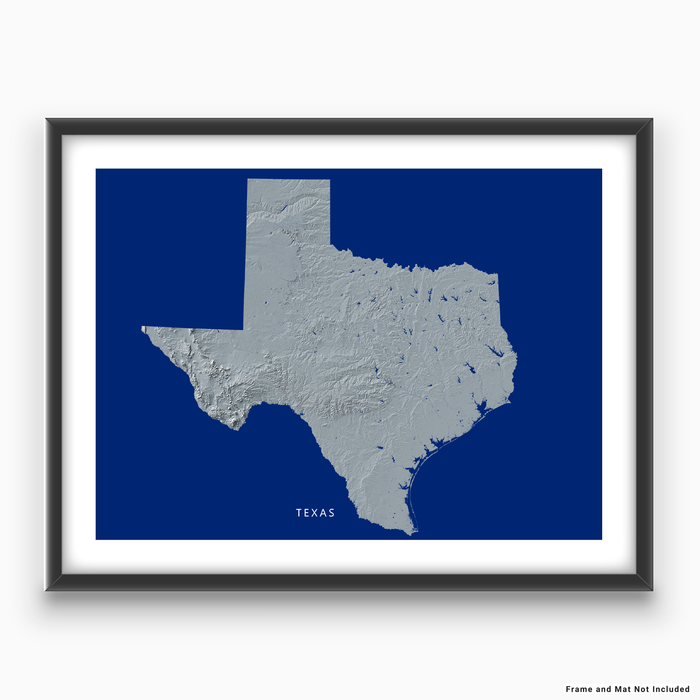 Texas state map print with natural landscape in greyscale and a navy blue background designed by Maps As Art.