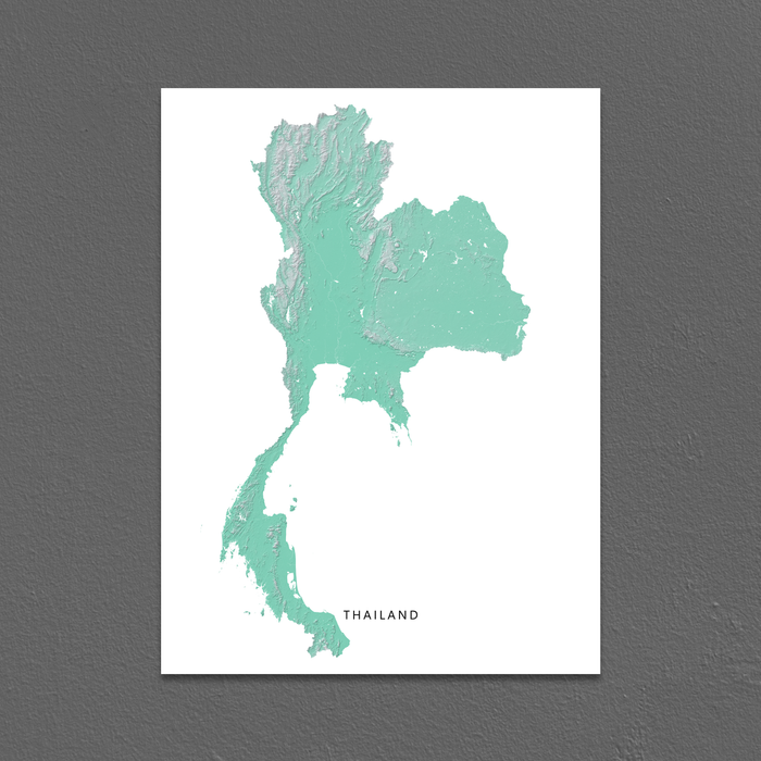 Thailand map print with natural landscape in aqua tints designed by Maps As Art.