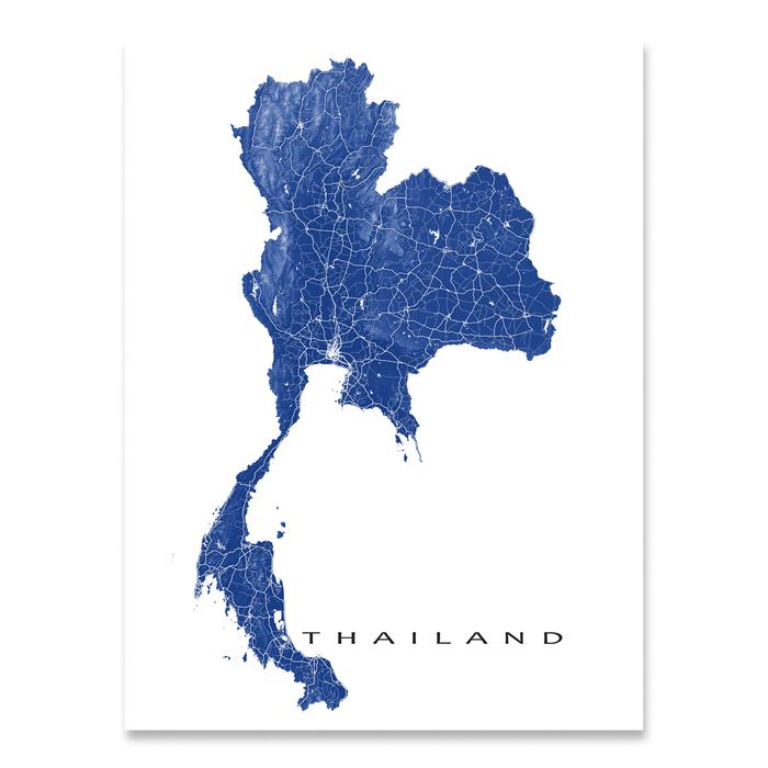 Thailand map print with natural landscape and main roads in Navy designed by Maps As Art.
