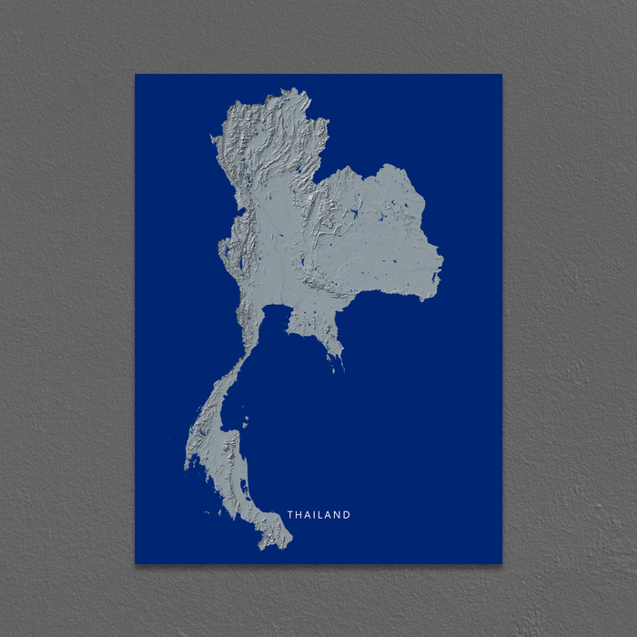 Thailand country map print with natural landscape in greyscale and a navy blue background designed by Maps As Art.