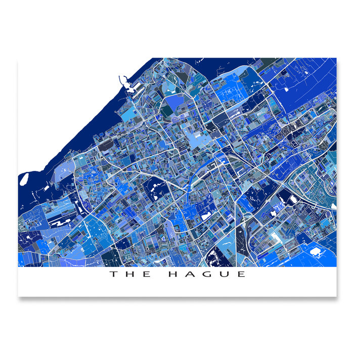 The Hague, Netherlands map art print in blue shapes designed by Maps As Art.
