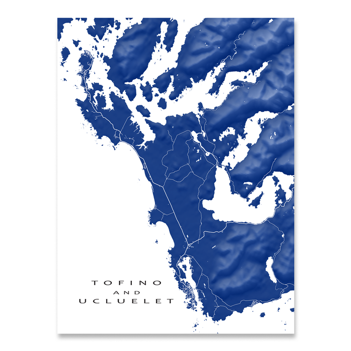 Tofino and Ucluelet, Vancouver Island, BC, Canada map print with natural landscape and main roads in Navy designed by Maps As Art.