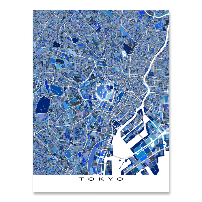 Tokyo, Japan map art print in blue shapes designed by Maps As Art.