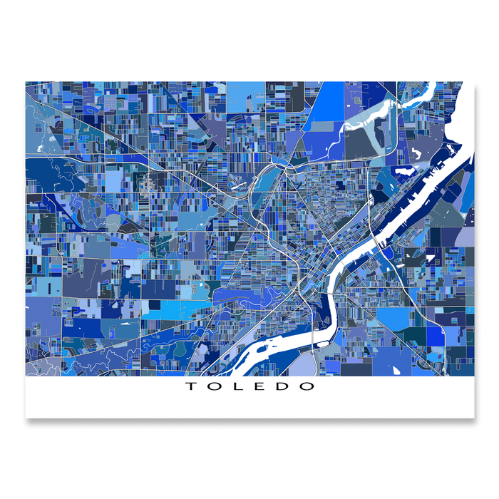 Toledo, Ohio map art print in blue shapes designed by Maps As Art.