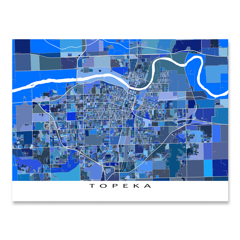 Topeka, Kansas map art print in blue shapes designed by Maps As Art.