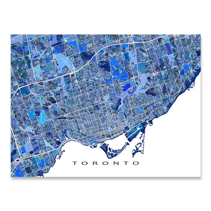 Toronto, Ontario Canada map art print in blue shapes designed by Maps As Art.