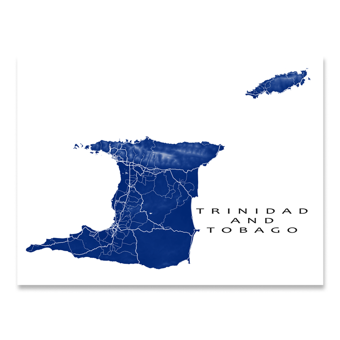 Trinidad and Tobago map print with natural island landscape and main roads in Navy designed by Maps As Art.