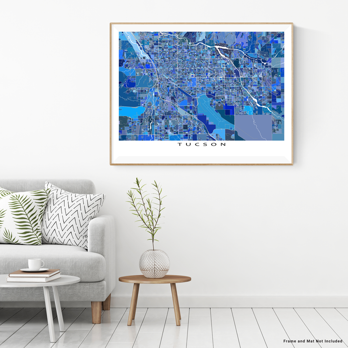 Tucson, Arizona map art print in blue shapes designed by Maps As Art.