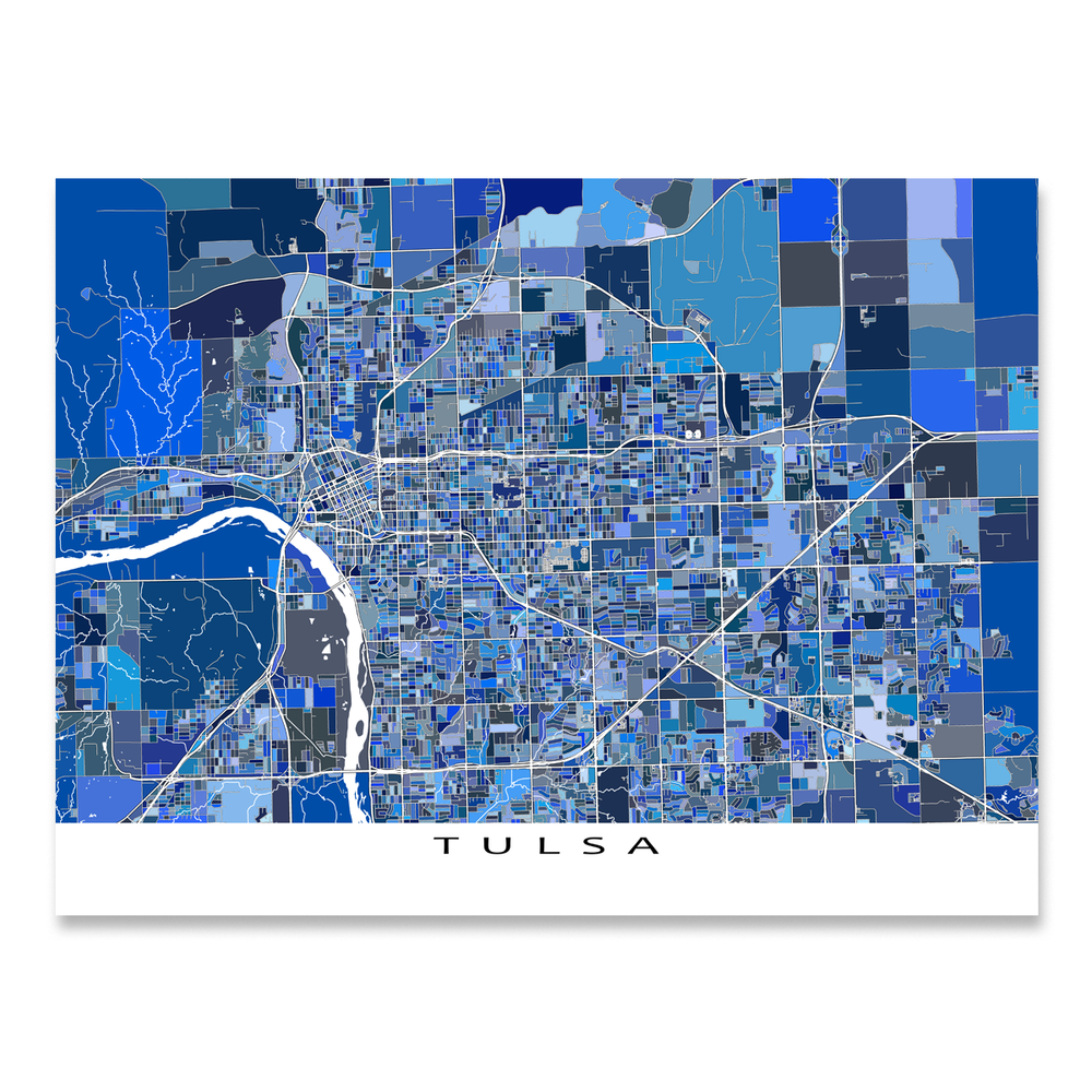 Tulsa, Oklahoma map art print in blue shapes designed by Maps As Art.