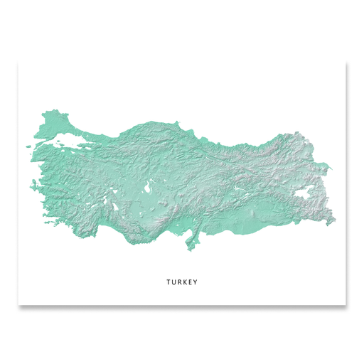 Turkey map print with natural country landscape in aqua tints designed by Maps As Art.