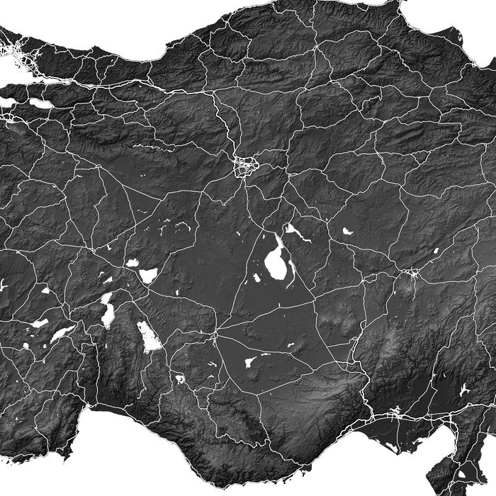 Turkey map print close-up with natural country landscape and main roads designed by Maps As Art.