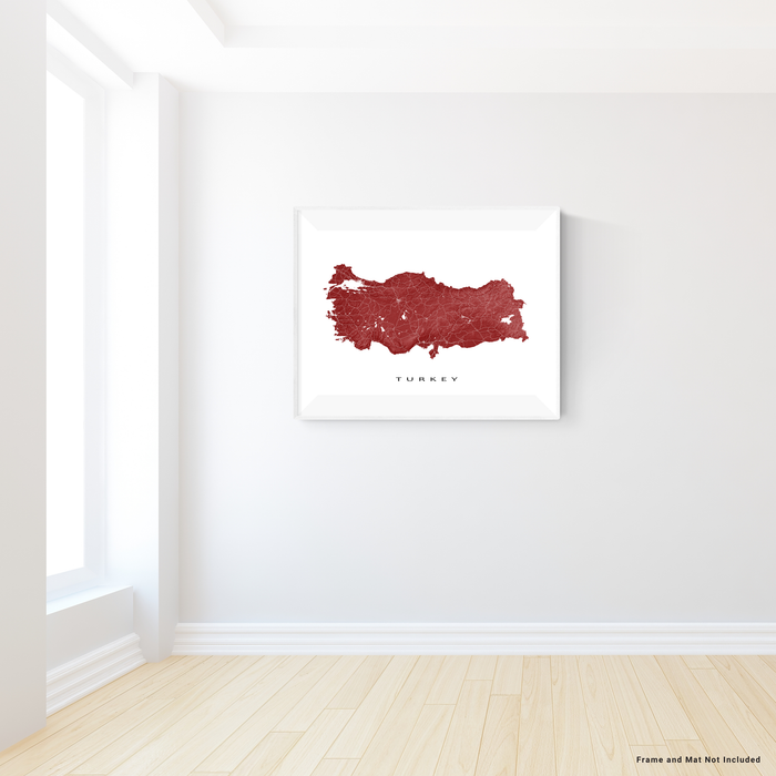 Turkey map print with natural country landscape and main roads in Merlot designed by Maps As Art.