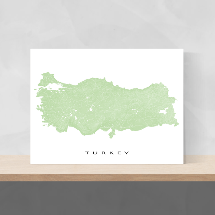 Turkey map print with natural country landscape and main roads in Sage designed by Maps As Art.