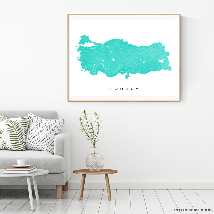 Turkey map print with natural country landscape and main roads in Turquoise designed by Maps As Art.
