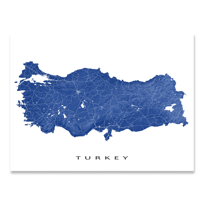Turkey map print with natural country landscape and main roads in Navy designed by Maps As Art.
