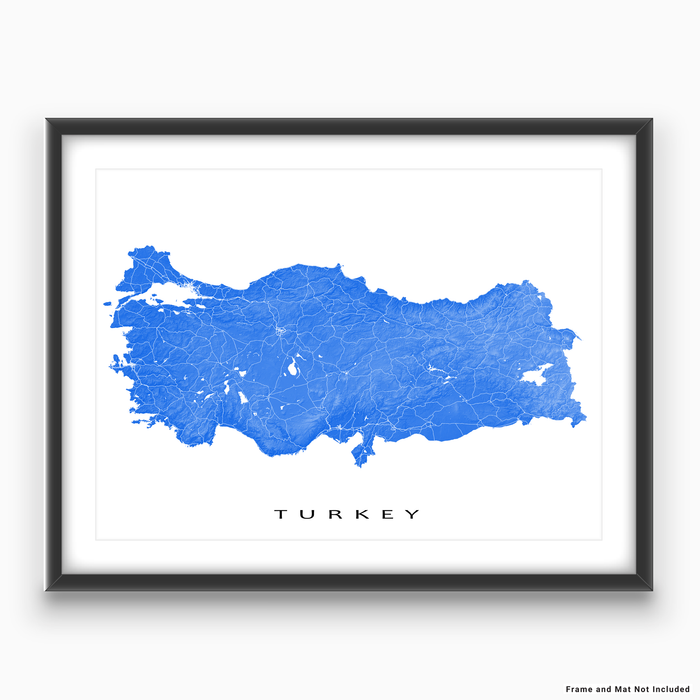 Turkey map print with natural country landscape and main roads in Blue designed by Maps As Art.