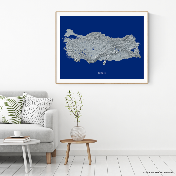 Turkey map print with natural landscape in greyscale and a navy blue background designed by Maps As Art.
