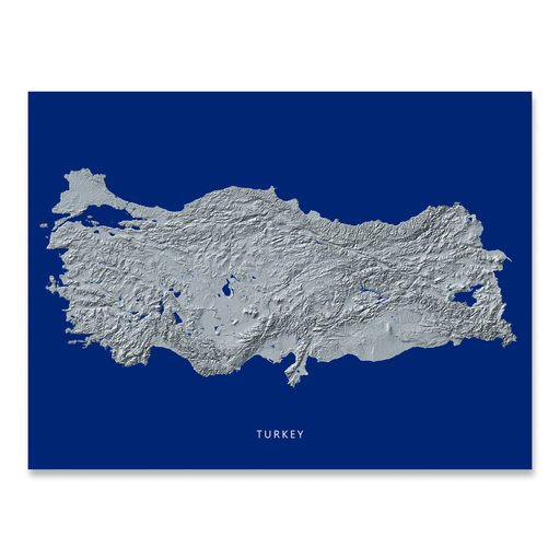 Turkey Map Print, Navy Landscape