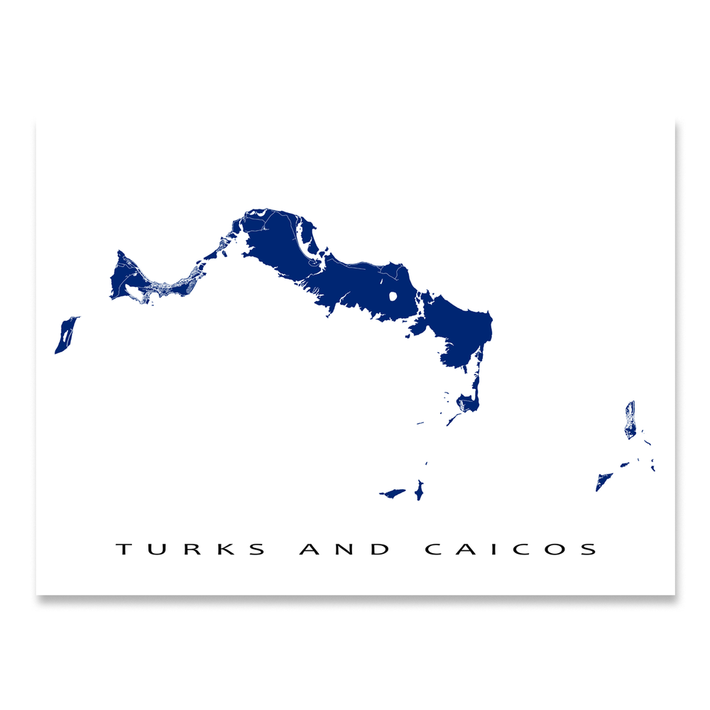 Turks and Caicos Map Print, Colors