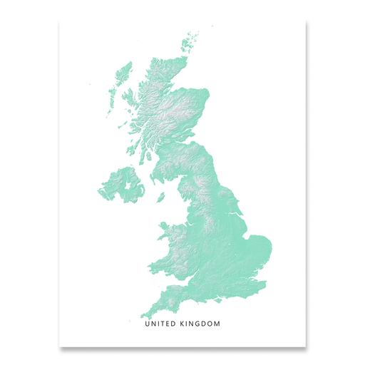 United Kingdom map print with natural landscape in aqua tints designed by Maps As Art.