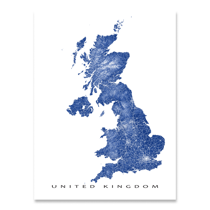 United Kingdom map print with natural landscape and main roads in Navy designed by Maps As Art.