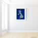 United Kingdom map print with natural landscape in greyscale and a navy blue background designed by Maps As Art.