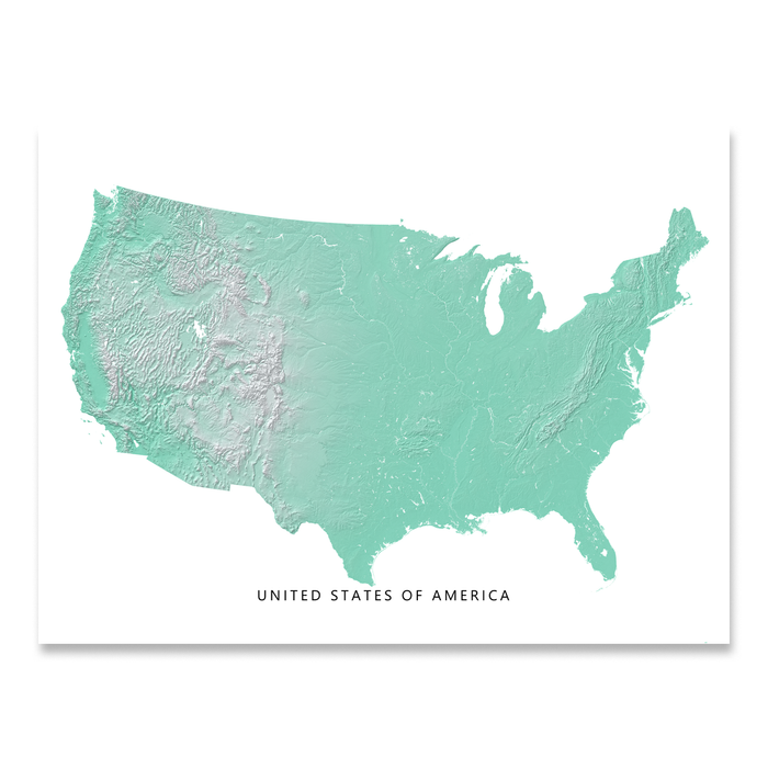 USA map print with natural landscape in aqua tints designed by Maps As Art.