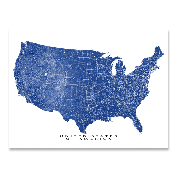 Usa Map Print United States Of America Landscape Maps As Art