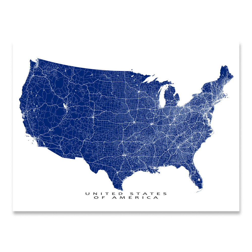 USA map print with main roads in Navy designed by Maps As Art.