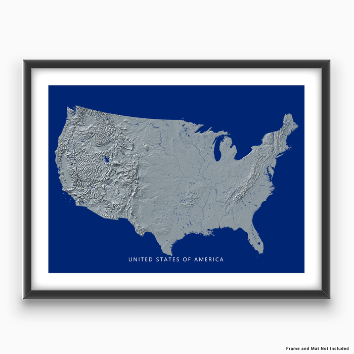 USA map print with natural landscape in greyscale and a navy blue background designed by Maps As Art.