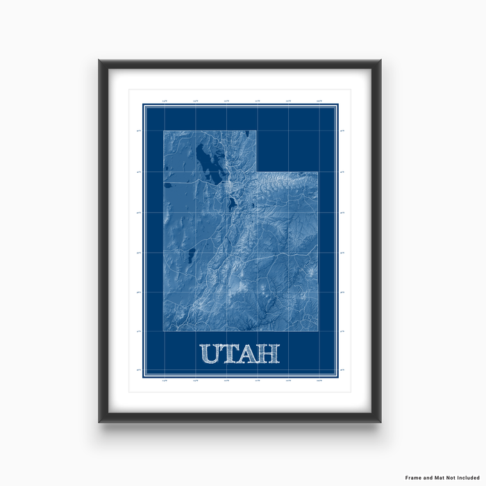 Utah state blueprint map art print designed by Maps As Art.