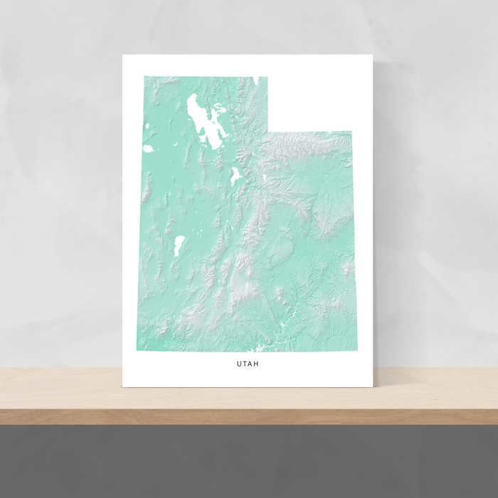 Utah state map print with natural landscape in aqua tints designed by Maps As Art.