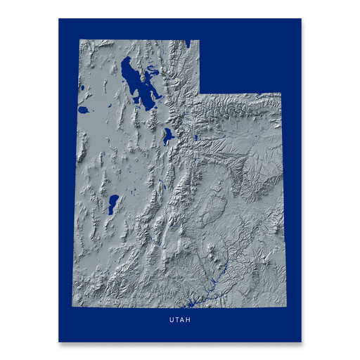 Utah state map print with natural landscape in greyscale and a navy blue background designed by Maps As Art.