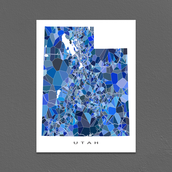 Utah state map art print in blue shapes designed by Maps As Art.