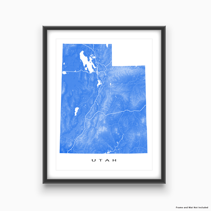 Utah state map print with natural landscape and main roads in Navy designed by Maps As Art.