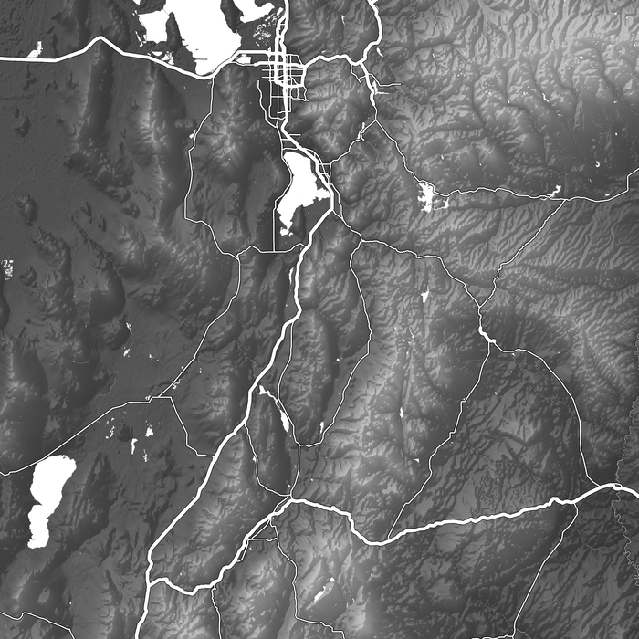 Utah state map print close-up with natural landscape and main roads designed by Maps As Art.
